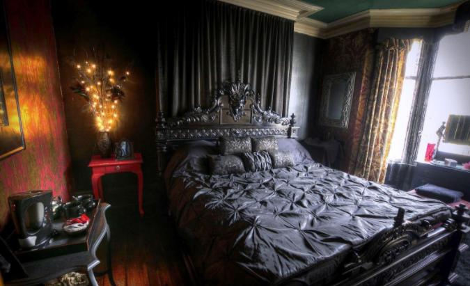 steampunk master bedroom