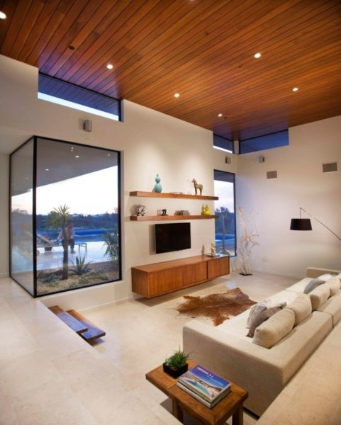 sunken living room fireplace